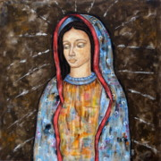 Modern Folk Art Paintings - The Virgin of Guadalupe by Rain Ririn
