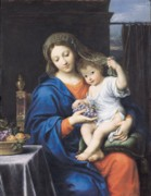 Blue Grapes Painting Posters - The Virgin of the Grapes Poster by Pierre Mignard