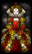Vitrail Framed Prints - The Virgin Queen Framed Print by Mandie Manzano