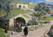 Israel Painting Framed Prints - The Virgin Spring in Nazareth Framed Print by Vasilij Dmitrievich Polenov