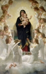 Bouguereau; William-adolphe (1825-1905) Paintings - The Virgin with Angels by William-Adolphe Bouguereau