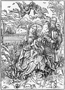 1400s Prints - The Virgin With Child Holding A Book Print by Everett