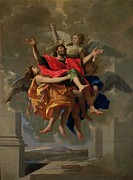 Poussin Posters - The Vision of St. Paul Poster by Nicolas Poussin