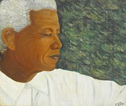 Slavery Painting Framed Prints - The Visionary - Nelson Mandela Framed Print by Jeanne Silver