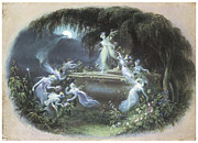 Fairies Framed Prints - The Visit At Moonlight Framed Print by Edmund Thomas Parris