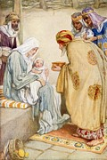 Baby Boy Posters - The Visit of the Wise Men Poster by Arthur A Dixon