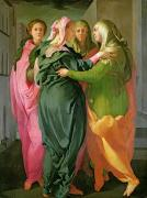 Virgin Mary Acrylic Prints - The Visitation Acrylic Print by Jacopo Pontormo