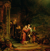 Bible Metal Prints - The Visitation Metal Print by  Rembrandt Harmensz van Rijn