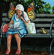 Linda Apple Photo Prints - The Visiting Angel - fantasy painting Print by Linda Apple