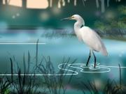 Egret Paintings - The Wading Hunter by Paul Sachtleben