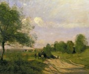 Camille Prints - The Wagon Print by Jean Baptiste Camille Corot
