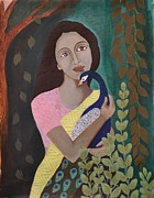 Contemporary Tribal Art Painting Originals - The Wait by Kavitha Harikumar