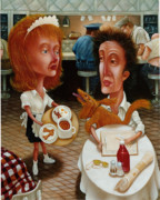 Americana Paintings - The Waitress 1999 by Larry Preston