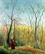 Bare Trees Painting Posters - The Walk in the Forest Poster by Henri Rousseau