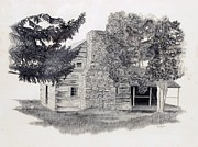 Log Cabin Drawings Prints - The Walker Sisters Cabin Print by Nancy Hilgert