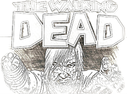 Zombies Drawings Prints - The Walking Dead Print by Hywel Morgan