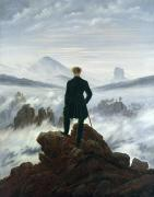 Alone Painting Posters - The Wanderer above the Sea of Fog Poster by Caspar David Friedrich