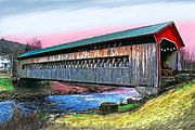 Jewel Tones Originals - The Ware Covered Bridge  by Earl Jackson