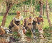 River Painting Metal Prints - The Washerwomen Metal Print by Camille Pissarro