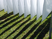Bedding Framed Prints - The washing is on the line - shadow play Framed Print by Matthias Hauser