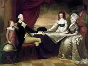 Martha Washington Framed Prints - The Washington Family Framed Print by Granger