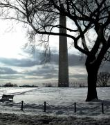 Winter Photos Pyrography Prints - The Washington Monument - II Print by Fareeha Khawaja