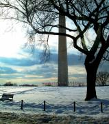 Winter Photos Pyrography Prints - The Washington Monument - III Print by Fareeha Khawaja