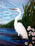Egret Painting Originals - The Watcher by Steven Wiley