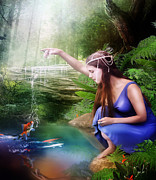 Fae Posters - The Water Hole Poster by Karen Koski