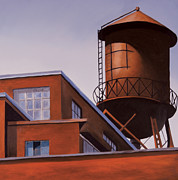 Quebec Paintings - The Water Tower by Duane Gordon