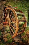 Antiqued Framed Prints - The Water Wheel Framed Print by Michael Garyet