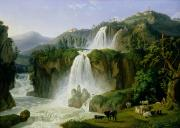 Waterfalls Painting Framed Prints - The Waterfall at Tivoli Framed Print by Jacob Philippe Hackert