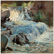 Fine American Art Posters - The Waterfall Poster by John Henry Twachtman