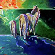 Contemporary Western Painting Originals - The Watering Hole by Lance Headlee