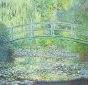 Flowers Paintings - The Waterlily Pond with the Japanese Bridge by Claude Monet