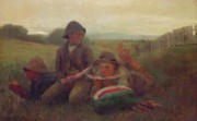 Kneeling Metal Prints - The Watermelon Boys Metal Print by Winslow Homer