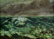 Courbet Posters - The Wave Poster by Gustave Courbet