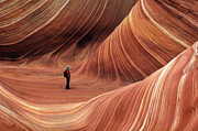 Sandstone Formation Photos - The Wave Seeking Enlightenment by Bob Christopher