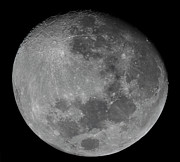 Mare Serenitatis Prints - The Waxing Gibbous Moon In A High Print by Luis Argerich