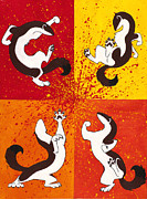 Anthropomorphic Paintings - The Weasel Dance by Beth Davies