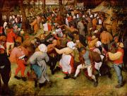 Dancers Posters - The Wedding Dance Poster by Pieter the Elder Bruegel