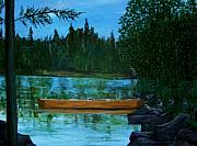 Canoe Drawings Metal Prints - The wedding gift Metal Print by Richard  Hubal