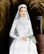 1950s Portraits Framed Prints - The Wedding In Monaco, Grace Kelly, 1956 Framed Print by Everett