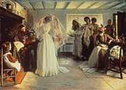 Silk On Canvas Metal Prints - The Wedding Morning Metal Print by John Henry Frederick Bacon