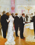 Chandelier Posters - The Wedding Reception Poster by Jean Beraud