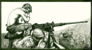 Marines Drawings - The Weight by Jacques Vesery