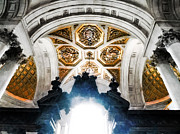 The West Doorway Of St Paul's Cathedral Print by Steve Taylor