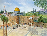 Jerusalem Painting Originals - The Western Wall and Dome of the Rock in Jerusalem by Bonnie Sue Schwartz