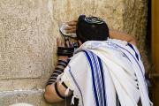 Tourists Attraction Prints - The Western Wall, Jewish Man Wearing Print by Richard Nowitz