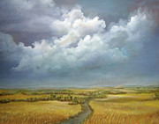 Storm Prints Painting Prints - The Wheat Field Print by Luczay